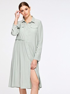 Flap Pocket Front Crinkle Detail Shirt Dress