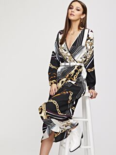 Surplice Neck Ruffle Wrap Scarf Print Dress