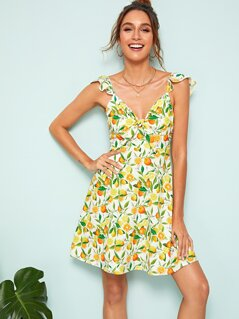 Fruit Print Knotted Front Ruffle Strap Dress