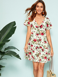 V-neck Button Front Ruffle Hem Floral Print Dress