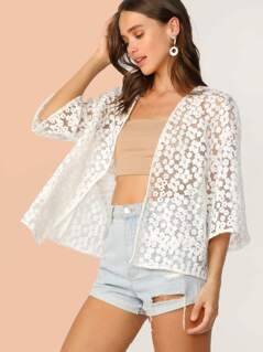 Drop Shoulder Embroidered Mesh Kimono
