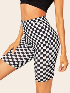 Wide Waist Checked Cycling Shorts
