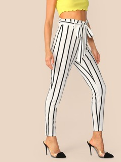 Vertical Striped Paperbag Waist Skinny Pants