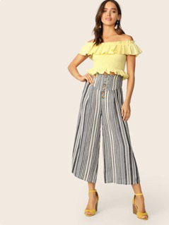 Wide Band Waist Buttoned Fly Wide Leg Striped Pants