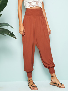 Shirred Waist & Hem Harem Pants