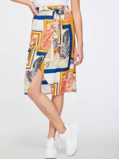 Tropical Scarf Print Wrap Skirt