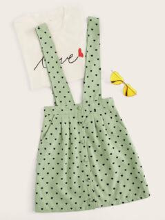 Button Front Fold Pleat Heart Print Pinafore Skirt