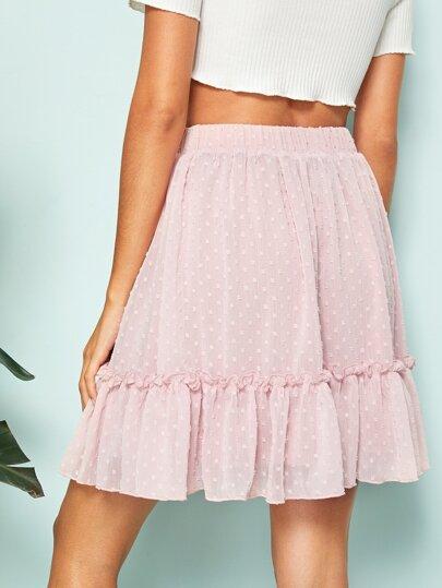 93327083c9 Tassel Drawstring Waist Frill Trim Swiss Dot Skirt, Gabi B - shein.com -  imall.com