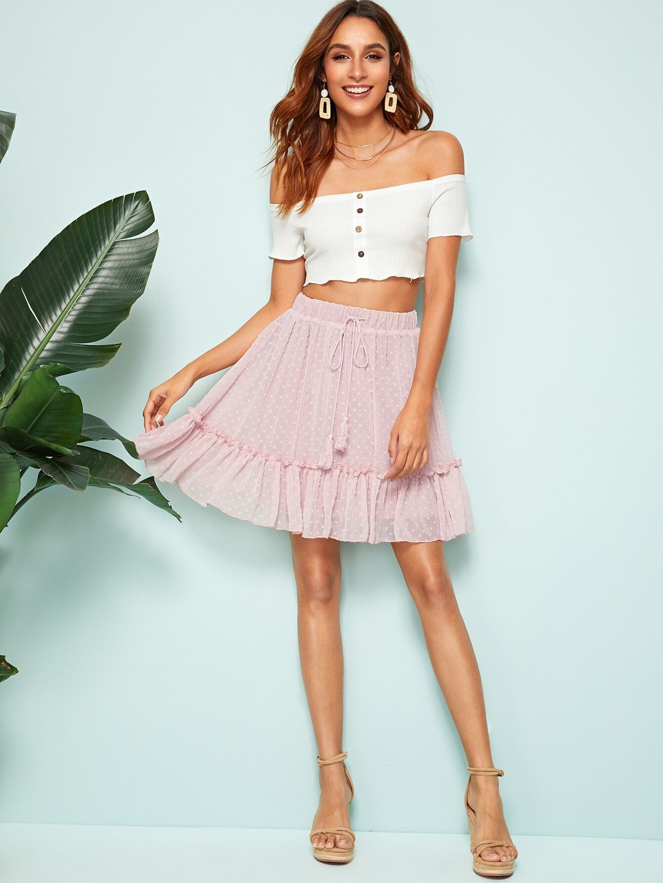 bf41ea9ccc Tassel Drawstring Waist Frill Trim Swiss Dot Skirt, Gabi B - shein ...