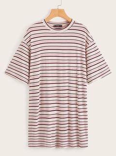 Drop Shoulder Longline Striped Tee