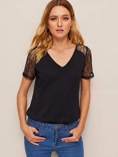 Sheer Lace Panel Solid Top