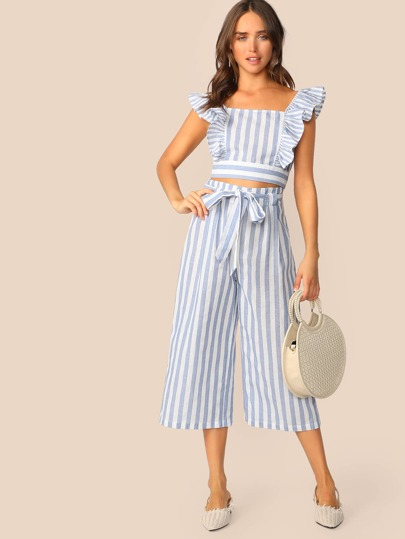 Ruffle Trim Striped Crop Top & Belted Culotte Pants Set