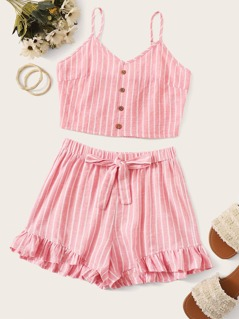 Button Detail Striped Cami and Ruffle Hem Shorts Set