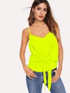 Neon Lime Knotted Front Cami Top