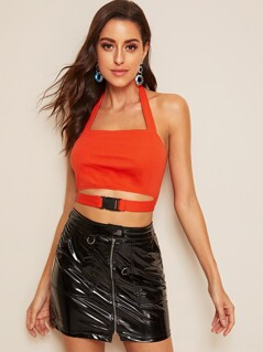 Neon Orange Cutout Push Buckle Front Crop Top