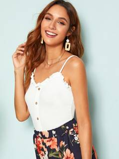 Button Front Frill Trim Cami Top