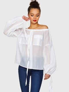 Drawstring Detail Off Shoulder Flap Pocket Sheer Blouse