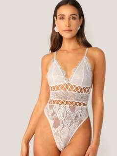 Sleeveless V-Neck Lace Thong Back Bodysuit