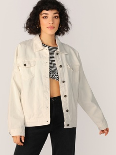 Button Front Double Pocket Oversized Denim Jacket