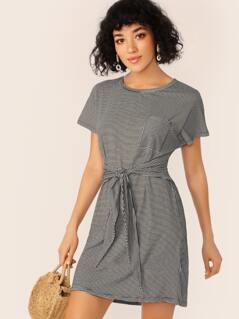 Waist Wrap Back Cut Out Stripe T-Shirt Dress
