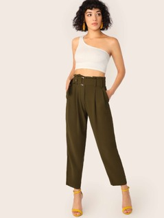 Belted High Waist Woven Pants
