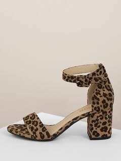 Faux Suede Leopard Print Block Heel Sandals