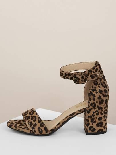 606ec3807d3 Nubuck Ankle Strap Block Heel Sandals