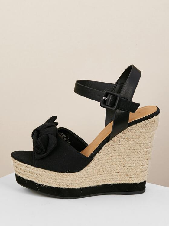 0fd29794e3f Bow Detail Ankle Strap Jute Wrapped Wedges