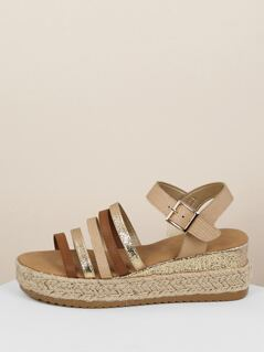 Multi Strap Ankle Buckle Jute Platform Sandals