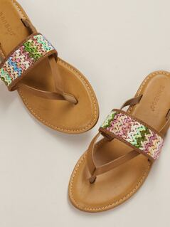 Basket Weave Flat Slide Thong Sandals