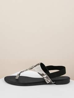 Snakeskin Slingback Flat Thong Sandals
