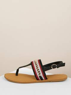 Ribbon And Chain Band Slingback Thong Sandals