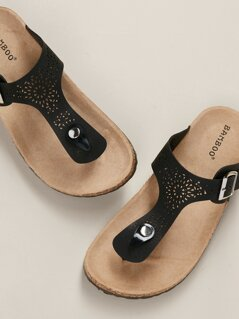 Perforated Cork Footbed Thing Slide Sandals