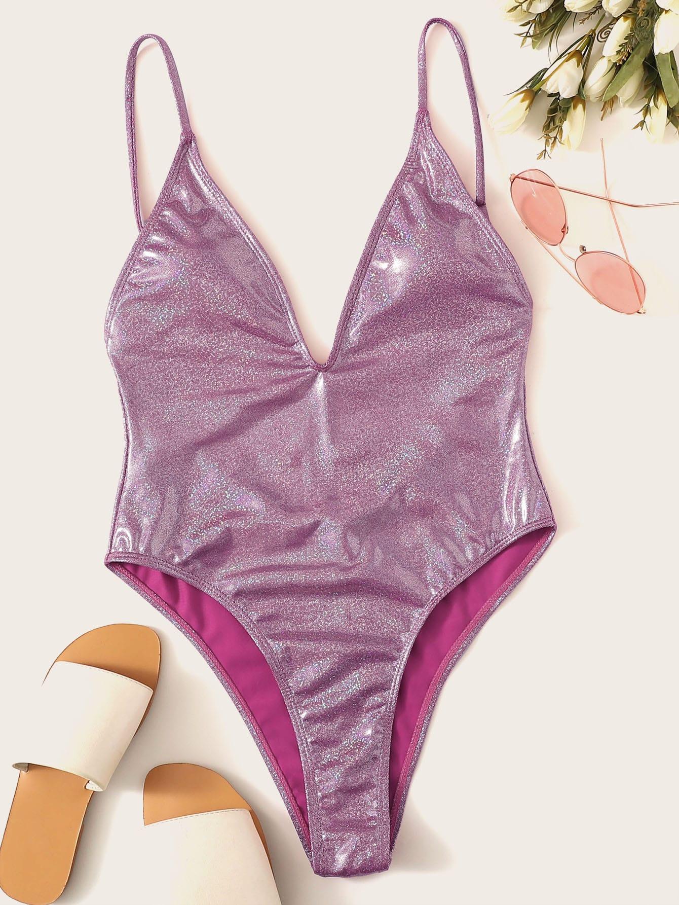 Фото - Блестящий слитный купальник с открытой спинкой от SheIn фиолетового цвета