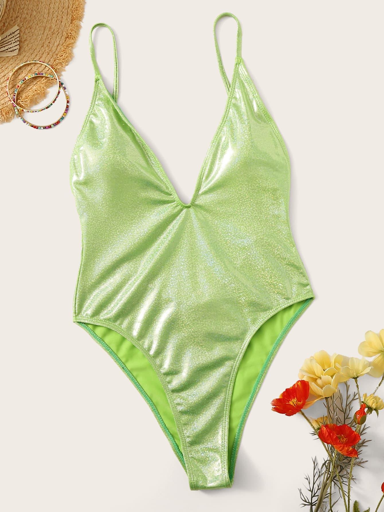 Фото - Блестящий слитный купальник с открытой спинкой от SheIn зеленого цвета