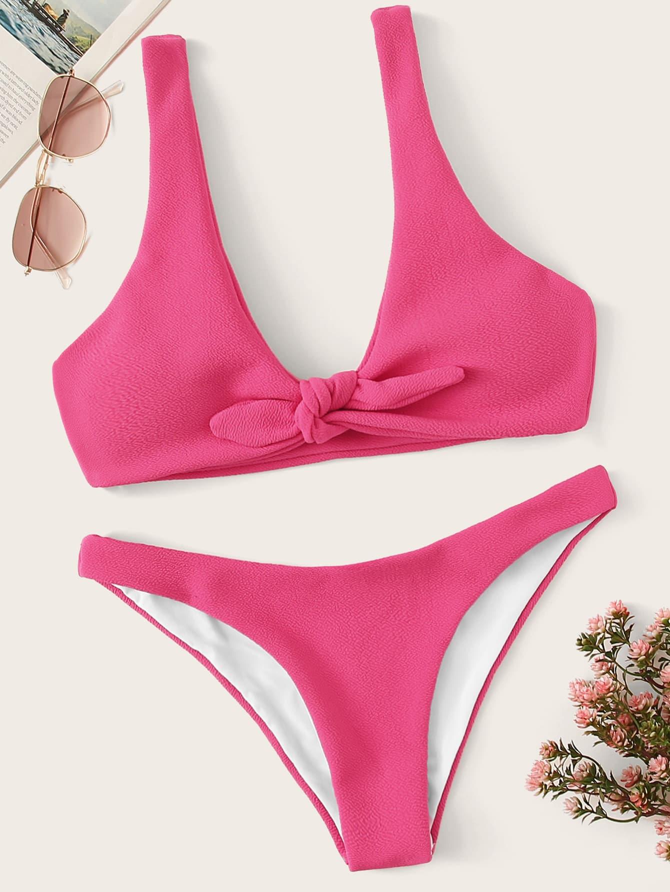 Фото - Бикини с узлом на лифе от SheIn розового цвета