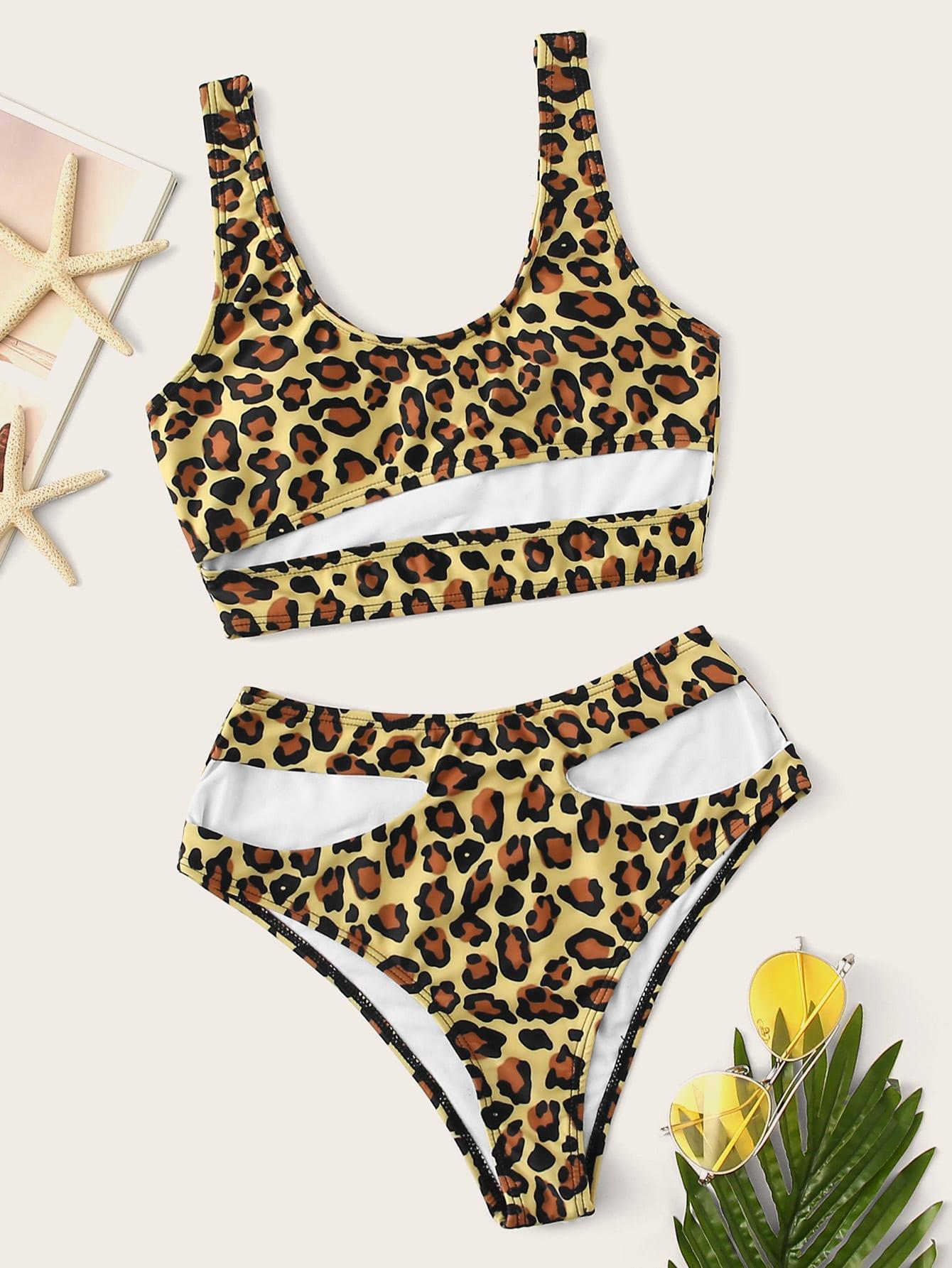 Фото - Бикини с высокой талией и леопардовым принтом от SheIn цвет многоцветный