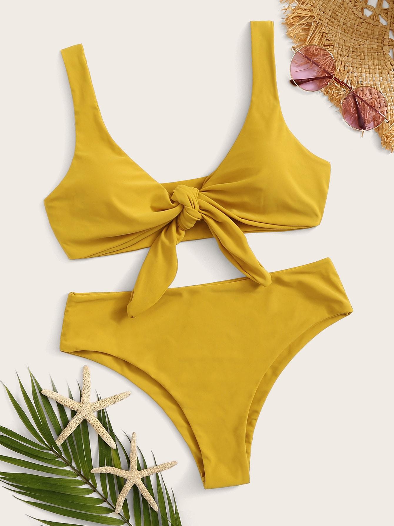 Фото - Бикини с узлом на лифе от SheIn желтого цвета