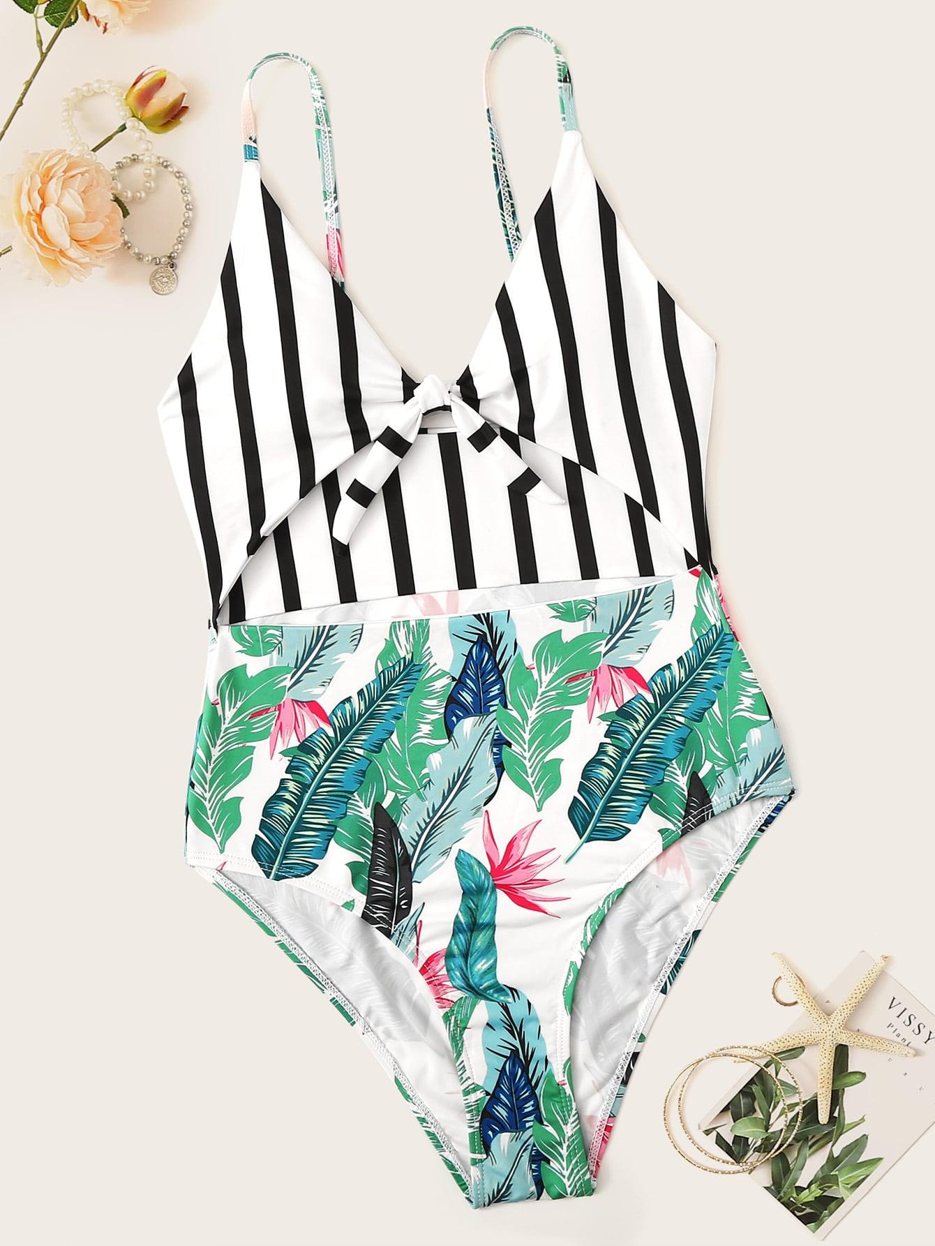 Фото - Слитный купальник в полоску с тропическим принтом от SheIn цвет многоцветный