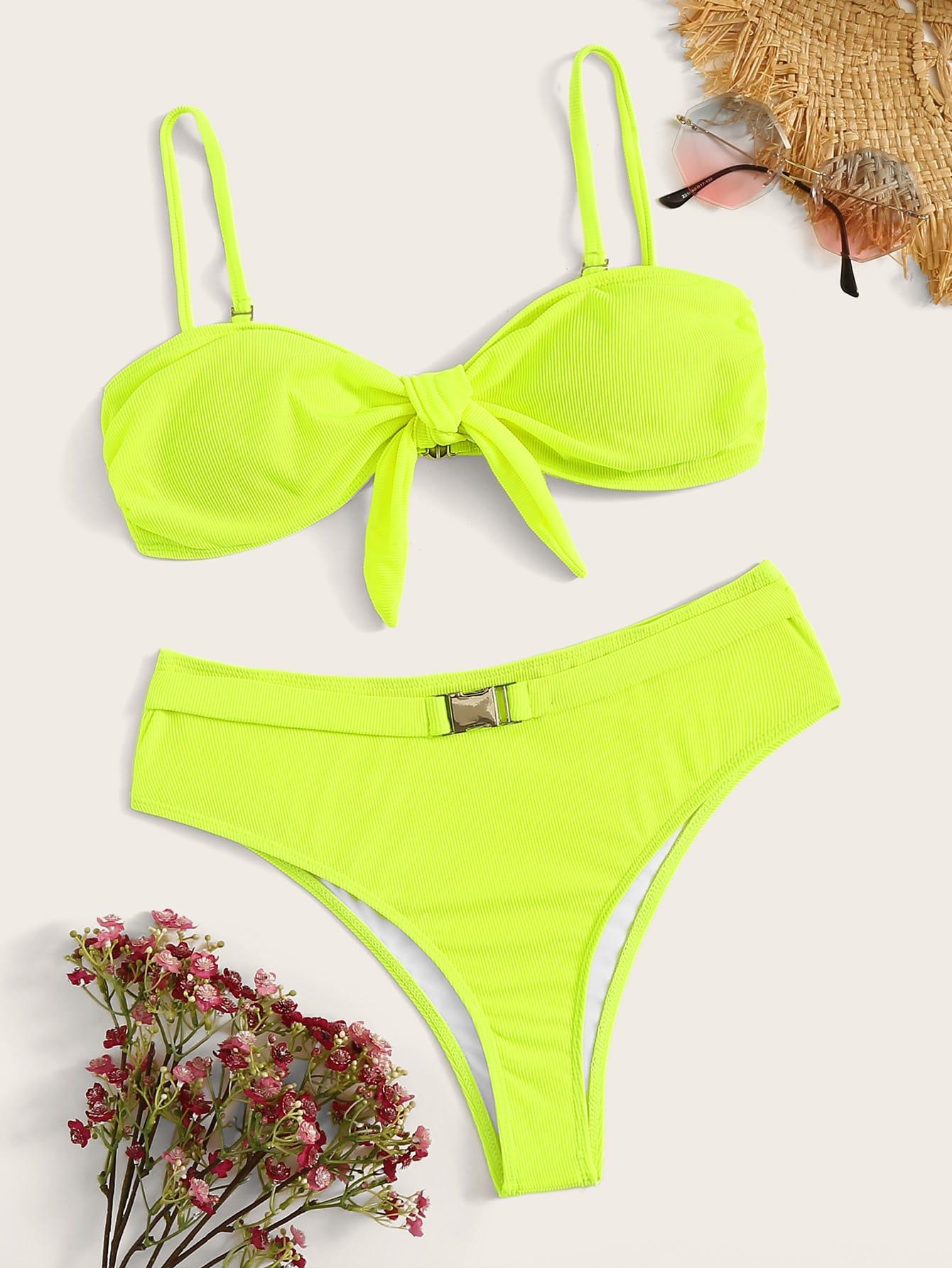 Фото - Бикини с узлом на лифе от SheIn зеленого цвета