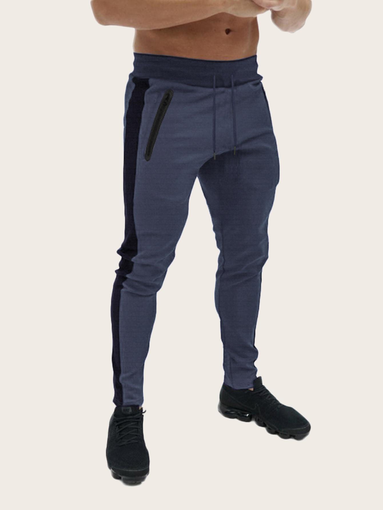 Фото - Мужские брюки на кулиске с контрастным бокам от SheIn цвет темно синий