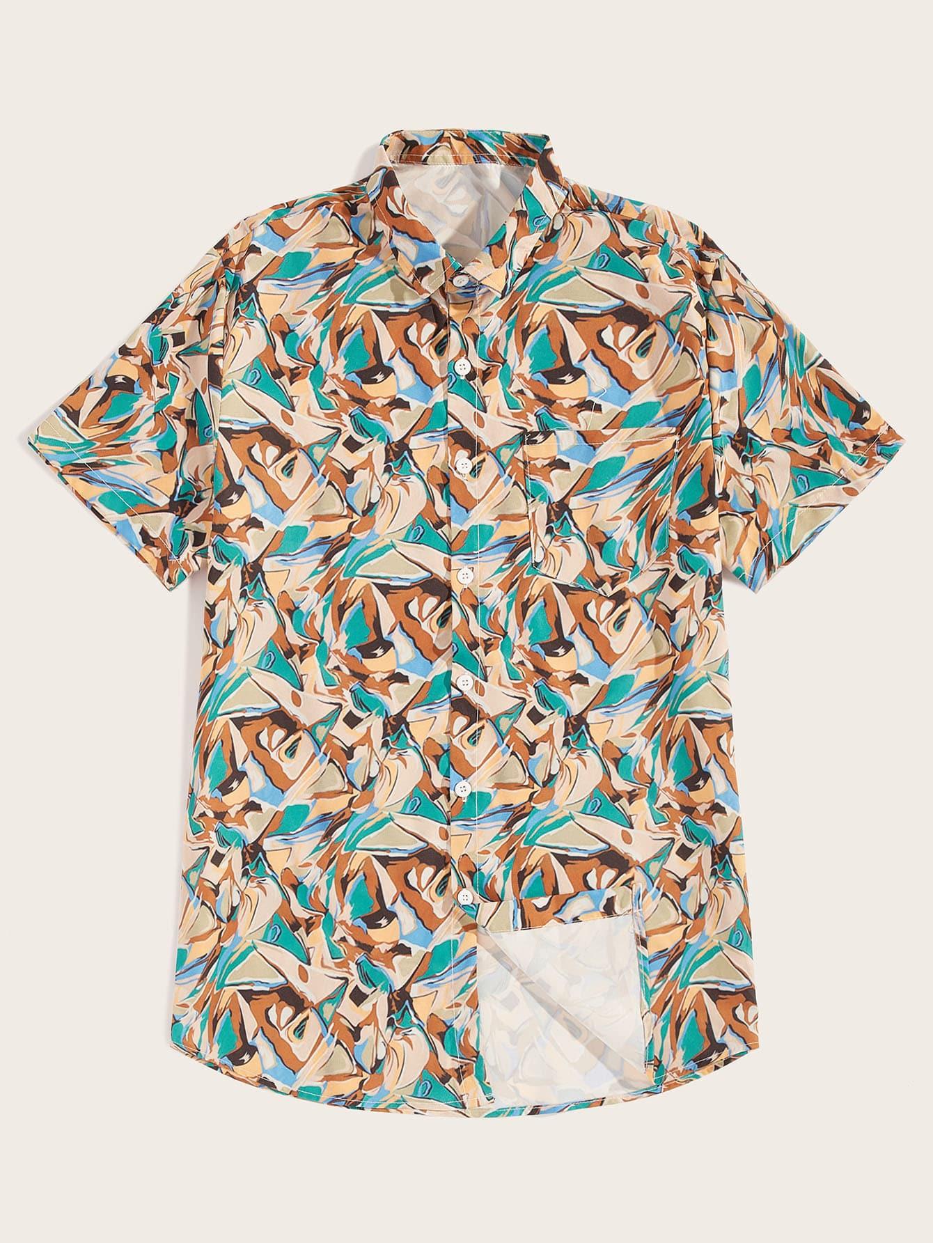 Фото - Мужская рубашка с мультипликационным принтом от SheIn цвет многоцветный