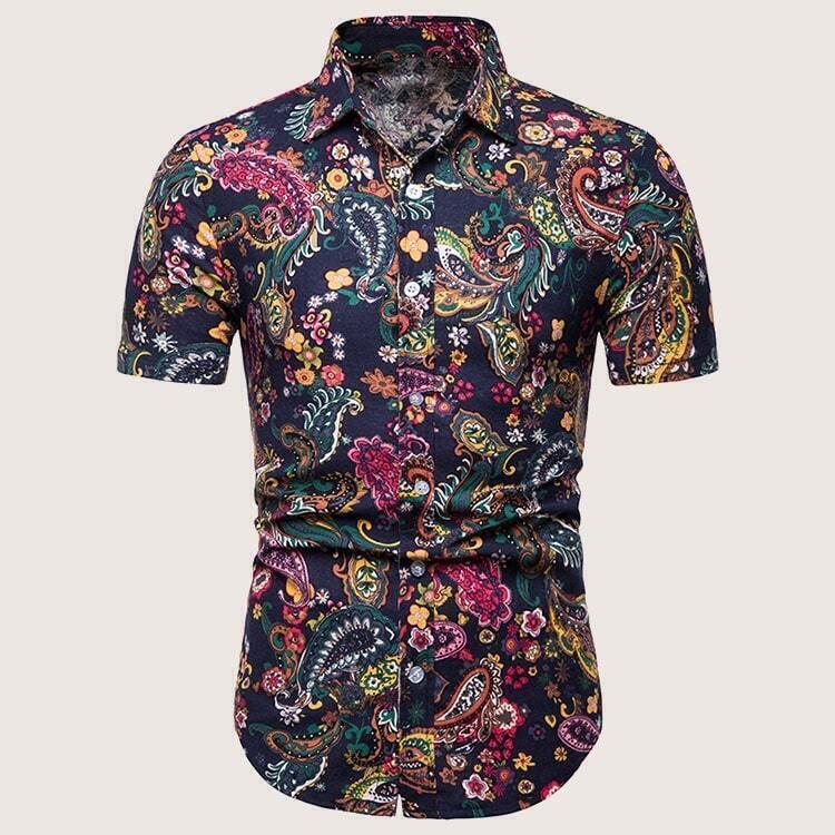 Veel kleurig Boho Paisley Overhemden voor heren Knoop
