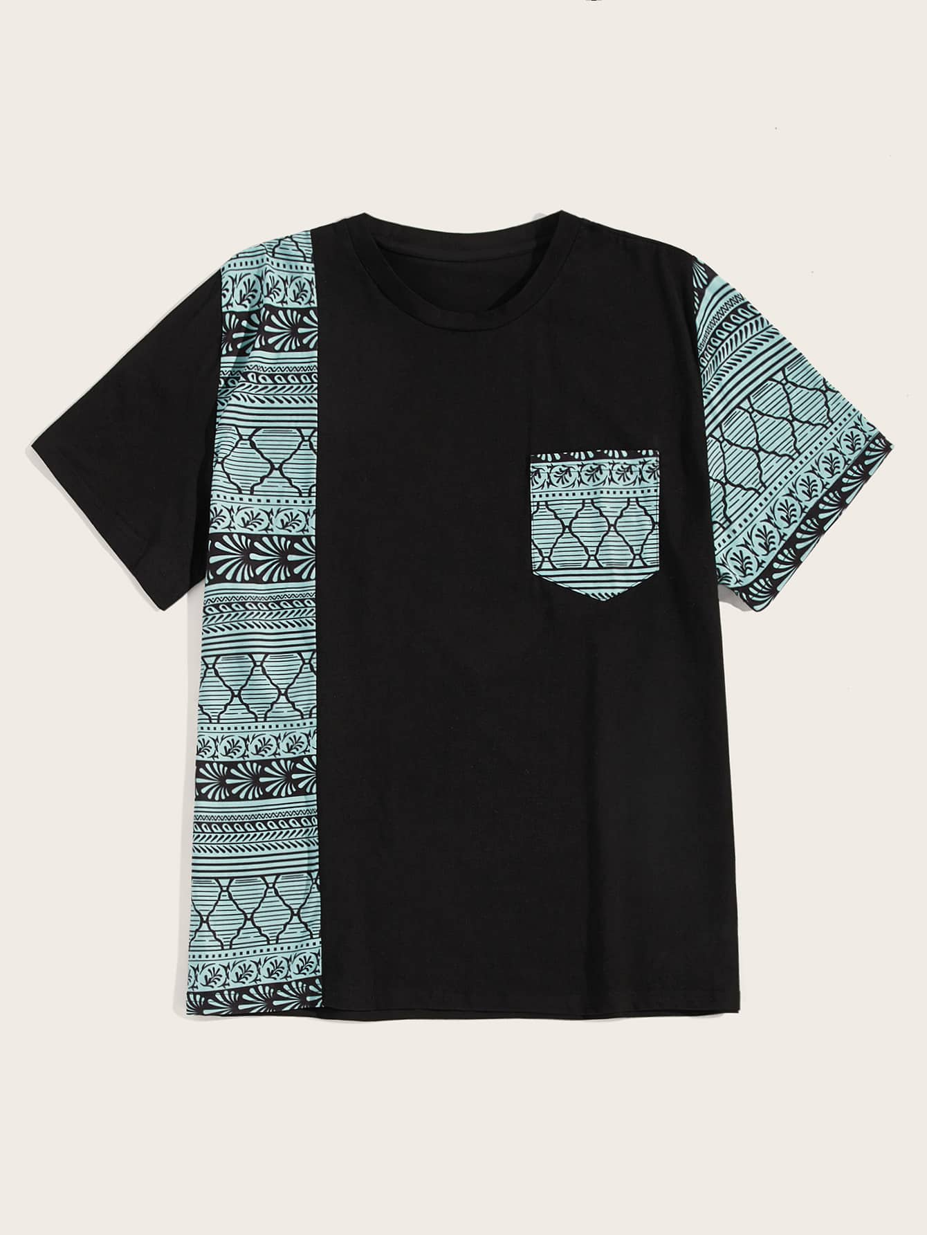 Фото - Мужская контрастная футболка с принтом от SheIn черного цвета