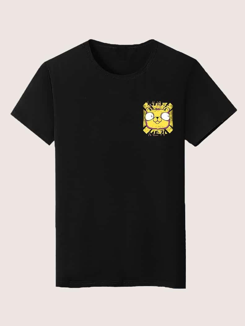 Фото - Мужская футболка с мультипликационным принтом от SheIn черного цвета