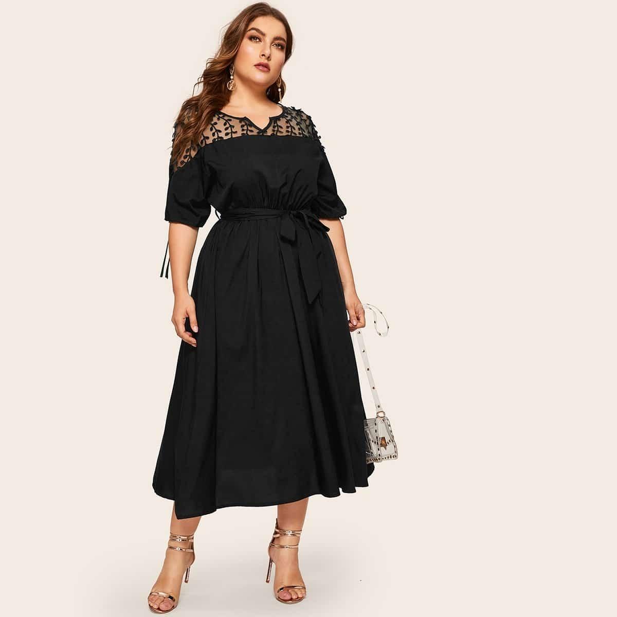 Zwart Casual Vlak Grote maten jurken Contrast mesh
