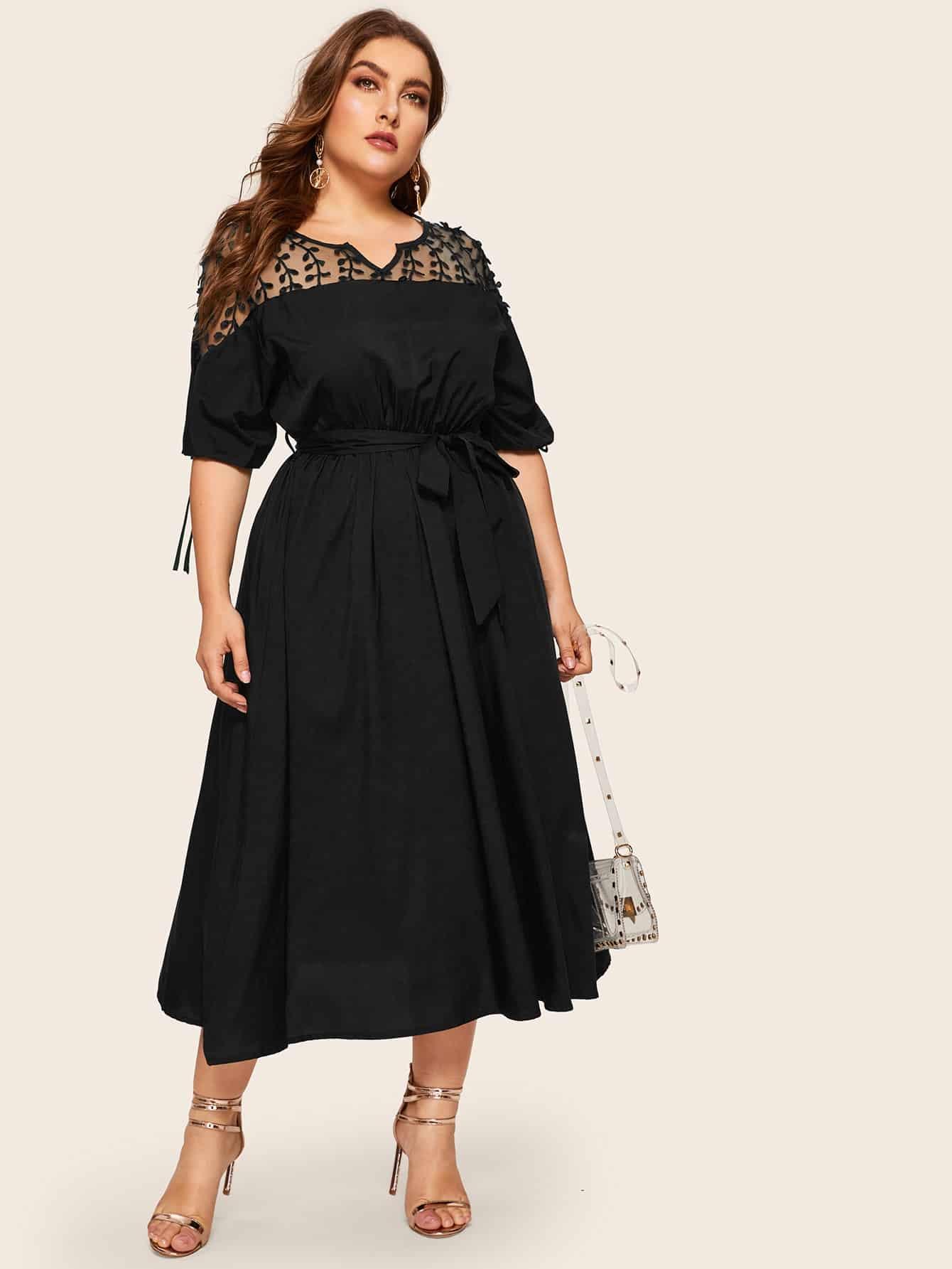Фото - Платье размера плюс с сетчатыми вставками и узлом от SheIn цвет чёрные