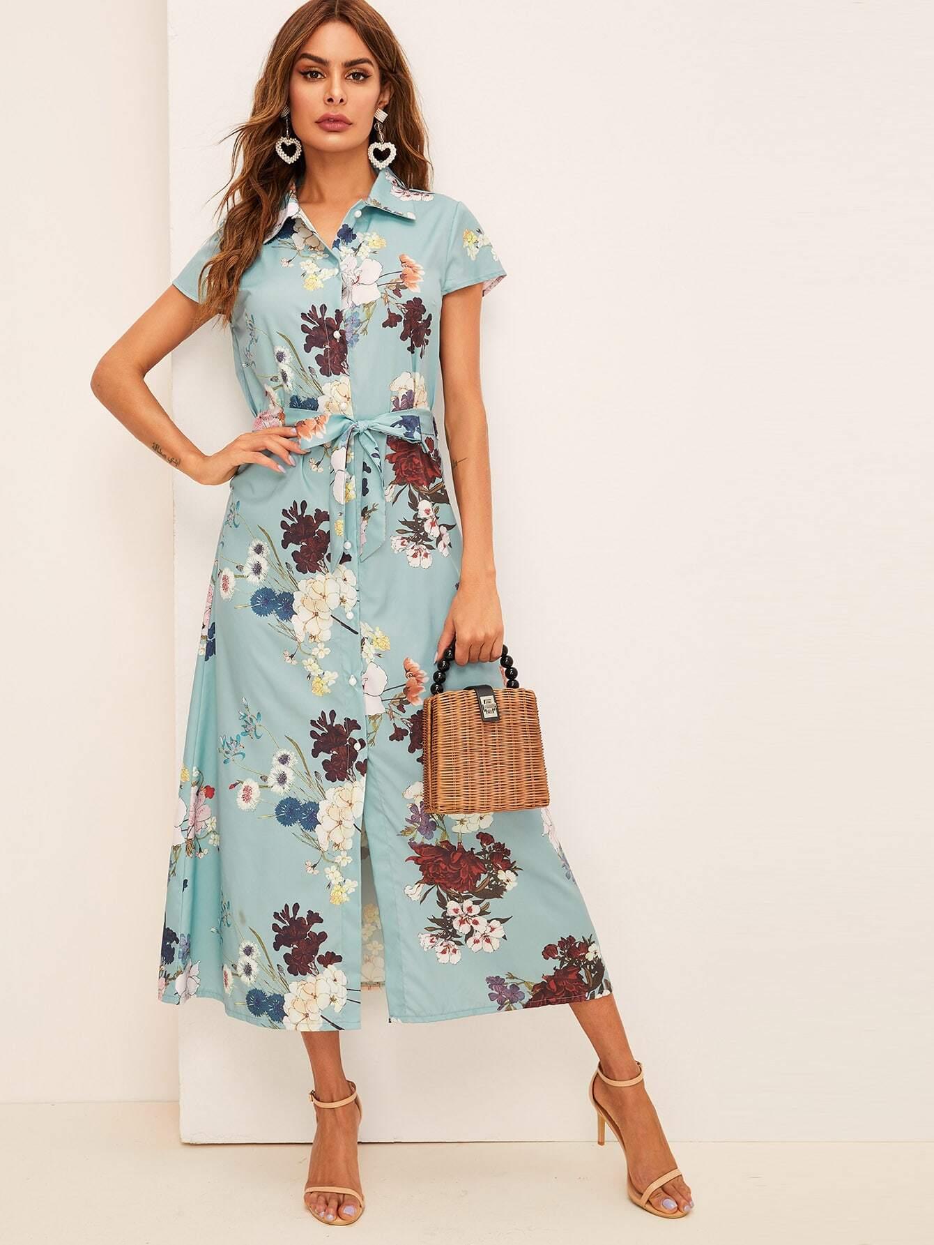 Фото - Платье-рубашка с цветочным принтом и поясом от SheIn цвет многоцветный