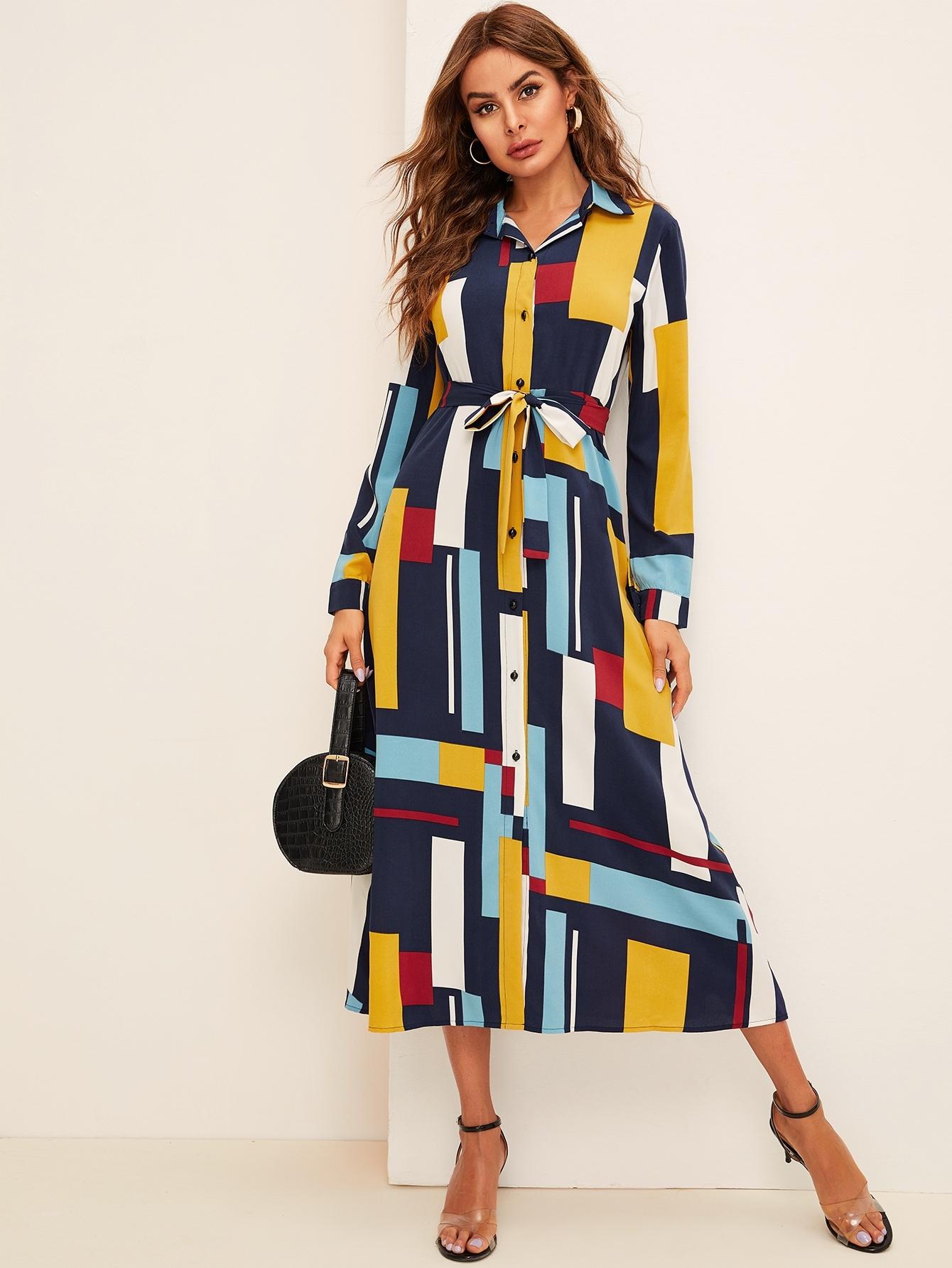 Фото - Разноцветное платье-рубашка с геометрическим принтом и поясом от SheIn цвет многоцветный