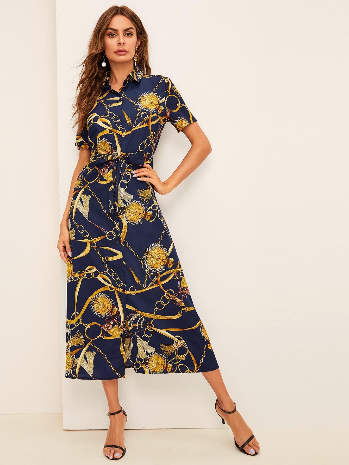 Фото - Платье-рубашка с цепным принтом и поясом от SheIn цвет многоцветный